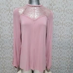Jessica Simpson Dusty Pink Lace Collar&Back Blouse